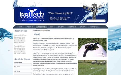 Screenshot of Products Page irritechsa.co.za - Products - captured Feb. 11, 2016