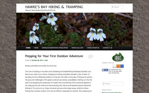 Screenshot of Home Page hbht.co.nz - Hiking and Tramping in New Zealand - captured June 15, 2016