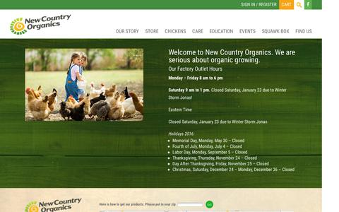Screenshot of Contact Page Hours Page newcountryorganics.com - Find us | New Country Organics - captured Feb. 12, 2016