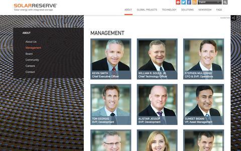 Screenshot of Team Page solarreserve.com - Management — SolarReserve - captured Dec. 6, 2016