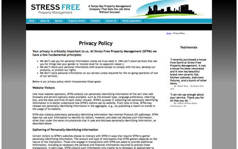 Screenshot of Privacy Page stressfreepropertymanagement.com - Privacy Policy : Property Manager Clearwater : Tampa : NoVacancyNow.com - captured Oct. 7, 2014