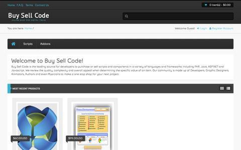 Screenshot of Home Page buysellcode.com - Buy Sell Code - captured Sept. 25, 2014