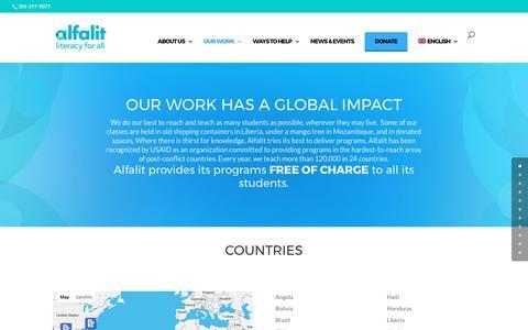 Screenshot of Testimonials Page alfalit.org - Our Work   Alfalit - captured Feb. 18, 2017