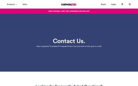 Screenshot of Contact Page canvaspop.com - Contact Us   CanvasPop - captured Feb. 10, 2019