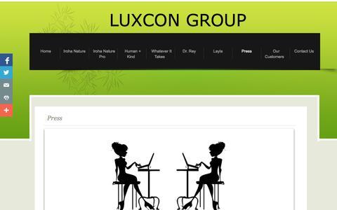 Screenshot of Press Page luxcongroup.com - Press - captured Oct. 3, 2014
