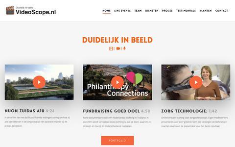 Screenshot of Home Page videoscope.nl - VideoScope - Het all-in-one videoproductiebedrijf met live webcast - captured Oct. 19, 2018