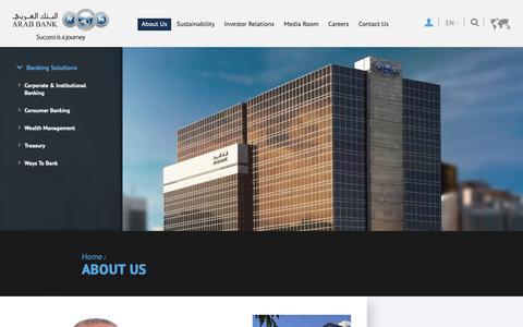 Screenshot of About Page arabbank.com - About Us - captured Nov. 6, 2018