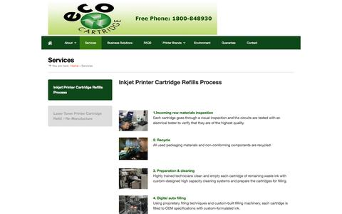 Screenshot of Services Page ecocartridge.ie - Services - Printer Cartridge Refill Dublin - captured Sept. 27, 2014