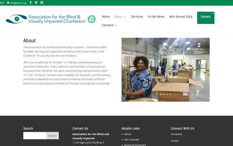 Screenshot of About Page abvisc.org - About | Association for the Blind and Visually Impaired - Charleston - captured Dec. 18, 2018
