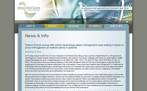 Screenshot of Press Page inhousepatentcounsel.com - News & Info Archives - InHouse Patent Counsel - captured Feb. 10, 2016