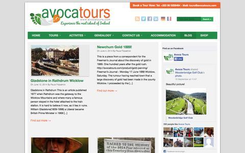 Screenshot of Press Page avocatours.com - News Archives - Avoca Tours - captured Sept. 30, 2014