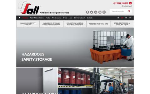 Screenshot of Products Page sall.it - Sall Products - handling, containment and storage solutions for hazardous substances and materials, spill containment solutions, spill prevention kit, sump pallet, outdoor storage containers for drums and ibc's, safety cabinets, oil and chemicals spi - captured Sept. 28, 2017