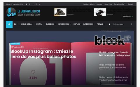 Screenshot of Home Page journalducm.com - Le Journal du Community Manager | Social Media - CM et Influenceurs - captured Sept. 27, 2018