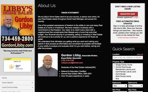Screenshot of About Page libbyshomesales.com - About Us   Libby's Home Sales I Gordon Libby   734-216-2188   Downriver MI Homes for Sale - captured July 3, 2018