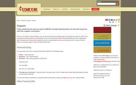 Screenshot of Support Page umcor.org - Support - UMCOR - captured Sept. 30, 2018