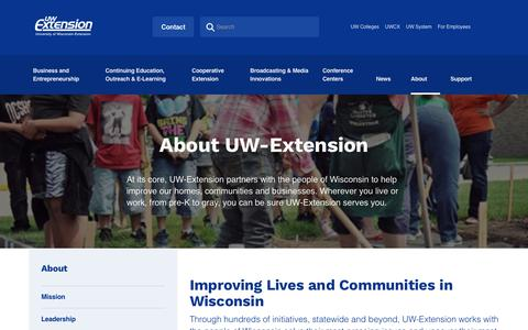 Screenshot of About Page uwex.edu - About | UW Extension - captured Oct. 14, 2017