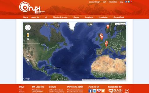 Screenshot of Maps & Directions Page onyxsnowboarding.com - Onyx Snowboard School - Map of the World - captured Oct. 1, 2014