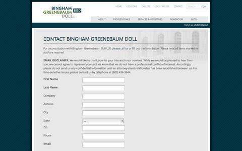 Screenshot of Contact Page bgdlegal.com - Contact Bingham Greenebaum Doll | Bingham Greenebaum Doll LLP - captured Oct. 1, 2014