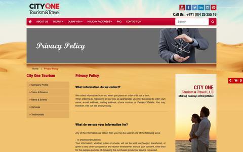 Screenshot of Privacy Page cityonetours.com - Privacy Policy - captured Nov. 6, 2016
