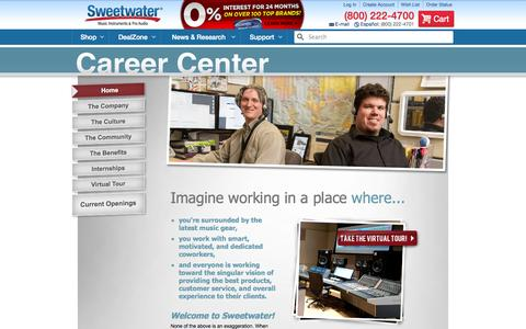 Screenshot of Jobs Page sweetwater.com - Sweetwater Career Center | Sweetwater.com - captured Sept. 18, 2014
