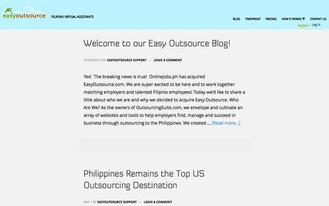 Screenshot of Blog easyoutsource.com - Easyoutsource Blog | Hire the best Filipino employees. Outsource your work to the Philippines. - captured March 13, 2017