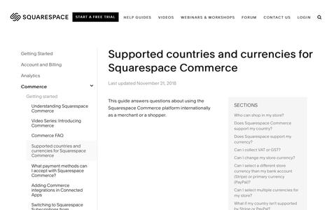 Screenshot of Support Page squarespace.com - Supported countries and currencies for Squarespace Commerce – Squarespace Help - captured Feb. 11, 2019