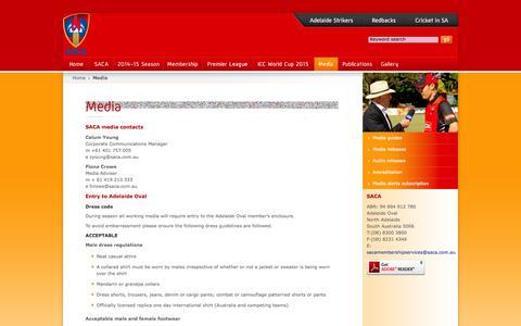 Screenshot of Press Page saca.com.au - SACA - South Australian Cricket Association - Media - captured Oct. 6, 2014