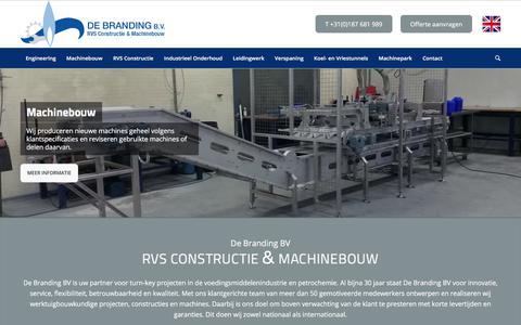 Screenshot of Home Page debrandingbv.nl - De Branding BV – RVS Constructie & Machinebouw - captured Aug. 6, 2018