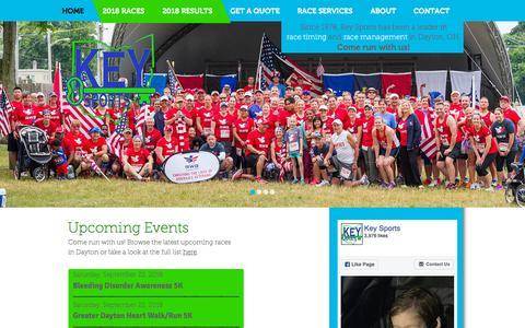 Screenshot of Home Page keysports.net - Key Sports | THE ORIGINAL RACE TIMING COMPANY IN DAYTON OHIO - captured Sept. 20, 2018