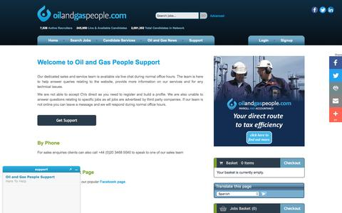 Screenshot of Support Page oilandgaspeople.com - Oil and Gas People Support - Oil and Gas People - captured Aug. 15, 2016