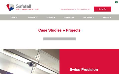 Screenshot of Case Studies Page safetell.co.uk - Case Studies and Projects - Physical Security and Counter Terror Solutions - captured Oct. 21, 2018