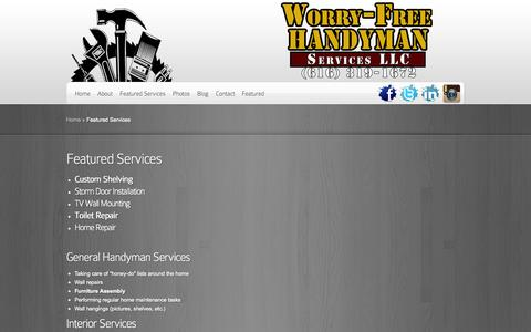 Screenshot of Services Page thegrhandyman.com - Featured Services | Worry-Free Handyman - captured Oct. 6, 2014