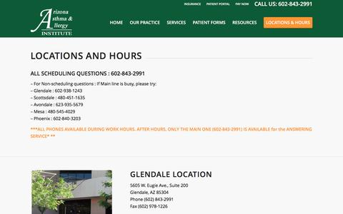 Screenshot of Locations Page Hours Page azsneeze.com - Locations and Hours - Arizona Asthma and Allergy Institute - captured Nov. 19, 2016