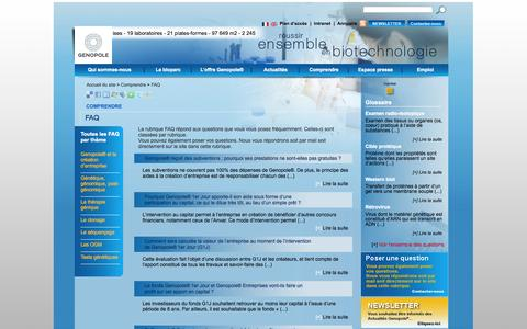 Screenshot of FAQ Page genopole.fr - FAQ - Genopole - Réussir ensemble en Biotechnologie - captured Sept. 30, 2014