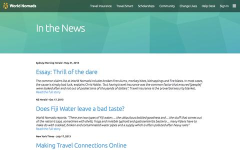 Screenshot of Press Page worldnomads.com - People are talking about - World Nomads - captured Oct. 29, 2014