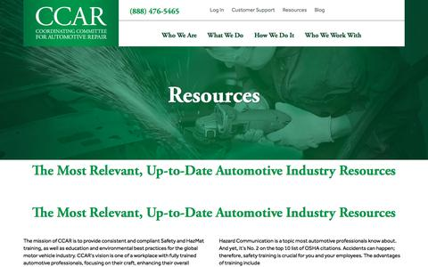 Screenshot of Support Page ccar-greenlink.org - Resources - CCAR - captured Sept. 25, 2018