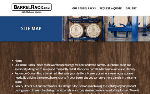 Screenshot of Site Map Page barrelrack.com - Site Map | Best Barrel Racks Storage System - captured Oct. 18, 2018