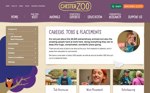 Screenshot of Jobs Page chesterzoo.org - Careers, Jobs and Placements | Chester Zoo UK - captured Feb. 2, 2016