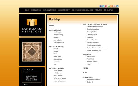 Screenshot of Site Map Page landmarkmetalcoat.com - Landmark Metalcoat: Metal Tile, Mosaics, Architectural Elements and Custom Metal Coatings for Residential and Commercial Applications. - captured Oct. 1, 2014
