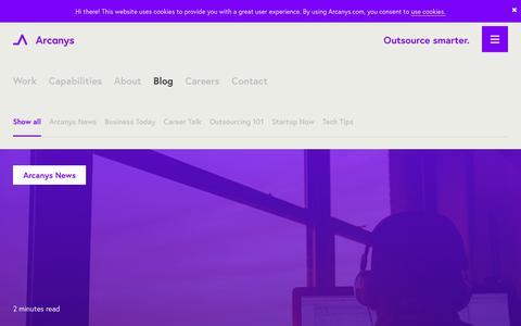 Screenshot of Blog arcanys.com - Arcanys Blog: Fresh insights on startups, IT BPO and more - captured July 30, 2018