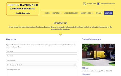 Screenshot of Contact Page drainswirral.com - Contact - captured Nov. 12, 2016