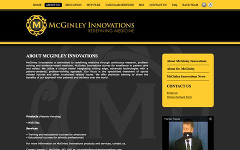 Screenshot of About Page mcginleyinnovations.com - About > McGinley Innovations | Redefining Medicine - captured Sept. 16, 2014