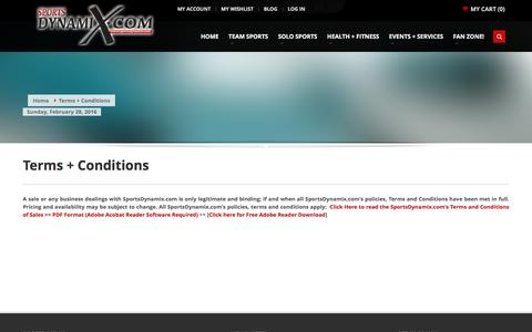 Screenshot of Terms Page sportsdynamix.com - Terms + Conditions - captured Feb. 27, 2016