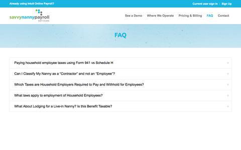 Screenshot of FAQ Page savvynannypayrollservices.com - FAQ – Savvy Nanny payroll services - captured July 7, 2018