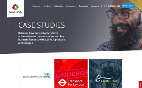 Screenshot of Case Studies Page kallidus.com - Kallidus customer case studies | Clients share their success stories - captured June 9, 2017