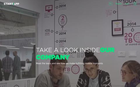 Screenshot of About Page startapp.com - Company - StartApp - captured Feb. 8, 2018