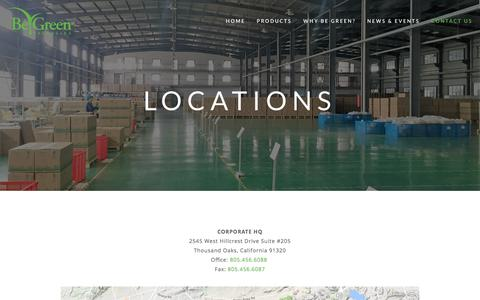 Screenshot of Locations Page begreenpackaging.com - Locations — Be Green Packaging - captured June 1, 2017