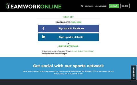 Screenshot of Signup Page teamworkonline.com - TeamWork Online - Signup - captured Jan. 13, 2016