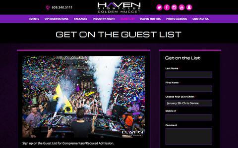 Screenshot of Signup Page havenac.com - Guest List for Haven Nightclub in Atlantic City - captured Jan. 27, 2016