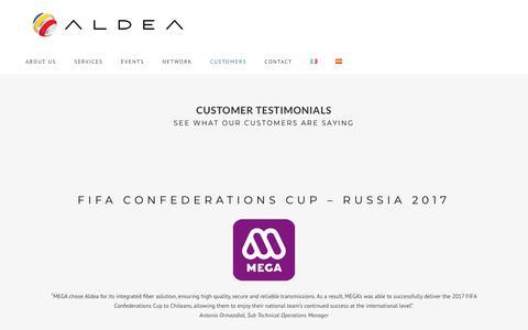 Screenshot of Testimonials Page aldea.tv - Aldea Solutions | Customer Testimonial - captured Dec. 9, 2018